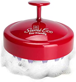 Sumi Eco Hair Scalp Massager Shampoo Brush | Silicone Scalp Care Comb with Soft Bristles | Tourmaline contained | Multiple Colors (4. RED COLOR)