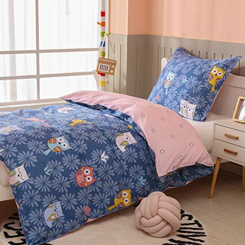 AShanlan Kinderbettwäsche 135x200 Mädchen Eulen 100% Baumwolle Rosa Blau Mädchenbettwäsche Kinder Bettwäsche Set Kopfkissenbezug 80x80 Reißverschluss Eulenmotiv