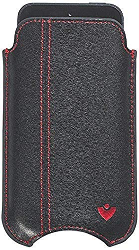 NueVue - Leather Case For iPhone 4, 4S & 5C (Black with Pink interior - Red stitch)