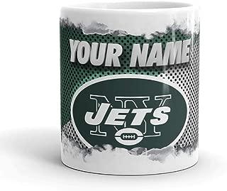 New York Jets NYJ Color Blast Custom Personalized Name Football Coffee Mug Gift (11oz)