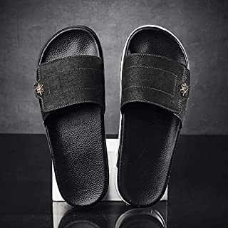 Men's indoor slippers non-slip floor flat buckle sandals summer shoe bath home slide sandals soft male (Color : Black 2205, Shoe Size : 39)