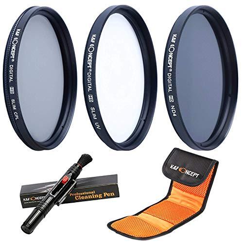 K&F Concept 46mm Filterset ND Filter 46mm ND4 Filter 46mm UV Filter 46mm CPL Filter für Canon Nikon DSLR Kamera mit Reinigungspinsel und 3 Fächer Filtertasche