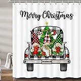 JAWO Duschvorhänge für Badezimmer, Buffalo Karo Karo Truck Xmas Holiday Fabric Duschvorhang-Set, niedliche Zwerge, Badezimmer-Zubehör, Dekor, Haken enthalten (69 B x 72 H)