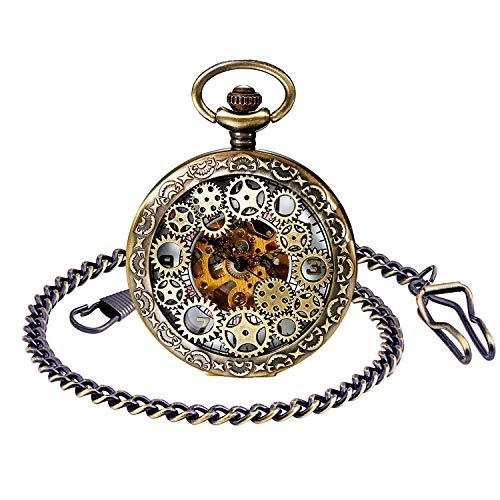 Unendlich U Herren Römische Ziffern Skala Taschenuhr mit Halskette Kette Analog Handaufzug Unisex Retro Steampunk Mechanische Kettenuhr