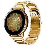 SUNDAREE Compatible con Correa Galaxy Watch Active 2 40MM 44MM,20MM Oro Metal Acero Inoxidable Reemplazo Pulsera Repuesto...