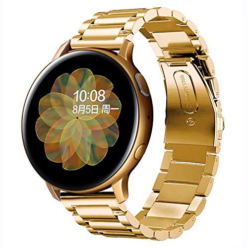 SUNDAREE Compatible con Correa Galaxy Watch Active2 44MM/40MM,20MM Metal Acero Inoxidable Reemplazo Correas Banda Pulseras de Reloj Inteligente para Samsung Galaxy Watch Active(Active2 Gold)