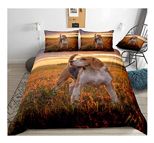 BAIYANG Beagle Dog Bedding Dog Duvet Cover Set Kids Pet Puppy On Sunset Bedclothes King Doggy Home Textile Drop Ship Single(135X200Cm)