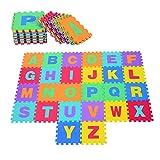 HOMCOM 26 Piezas Alfombra Puzzle para Niños 31x31 cm Colchoneta Suave 2,41 m² Juego Rompecabezas 26 Letras para Bebé Espuma EVA Lavable Colorido