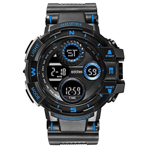 AZPINGPAN Outdoor Sports Luminous Watch, 5ATM wasserdichte militärische elektronische Uhren, Wecker/Kalender/Wochenanzeige Chronograph, funktionale Digitale analoge Armbanduhr