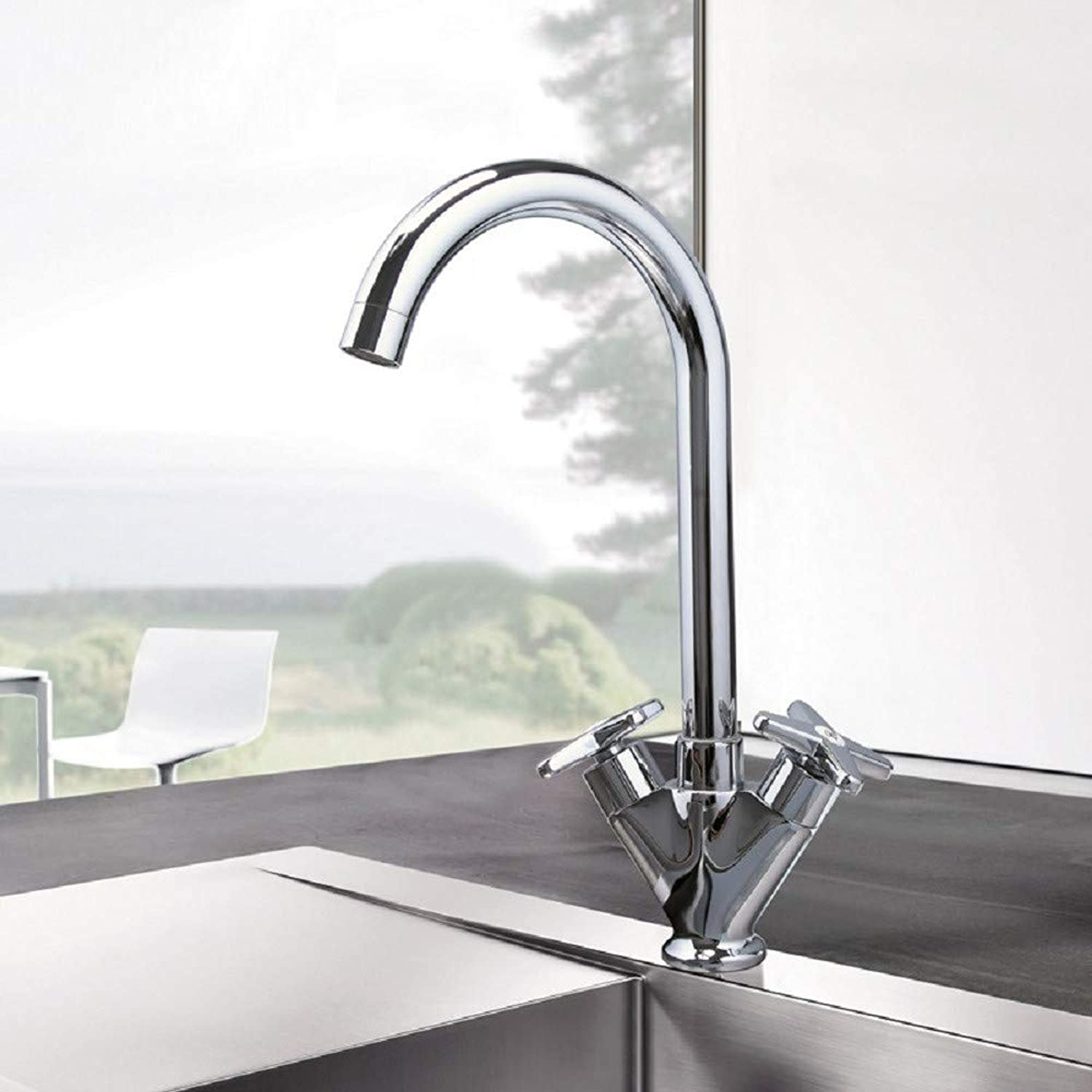 Kitchen Taps, Hot and Cold, Double Kitchen Faucets, Double Single-Hole Sink Faucets Kitchen Taps Kitchen Sink Mixer Taps Basin Tap