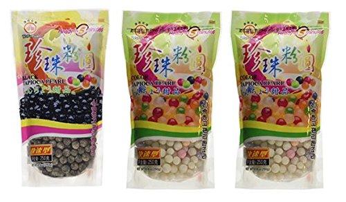 Wufuyuan Tapioca Pearls (1) Black 8.8 oz & (2) Colorful Pearls 8.8 oz (Pack of 3)