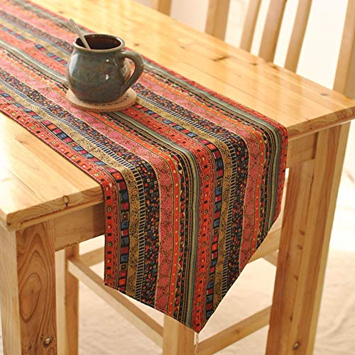 Zengqhui Torwarthandschuhe Beiläufige Klassische Streifen-Baumwollrechteck-Tabelle Läufer-Aufbereiter-Schals for Tabellen-Einstellungs-Dekor Innen rutschfestes Silikongel