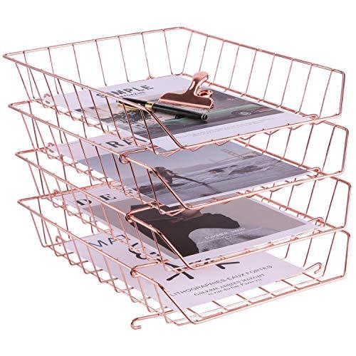 SIMMER STONE Stapelbarer Briefablage, 4-stöckiger Schreibtisch-Organizer für Mails, Zeitschriften, Dokumente und Zubehör, Drahtpapierablage für Zuhause, Schule und Büro, Rotgold