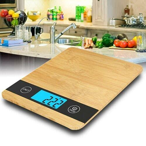 Deals Balance électronique numérique de cuisine 1 g-5 kg, résistante au bambou, poids maximum 5 kg et haute précision, arrêt automatique et fonction tare