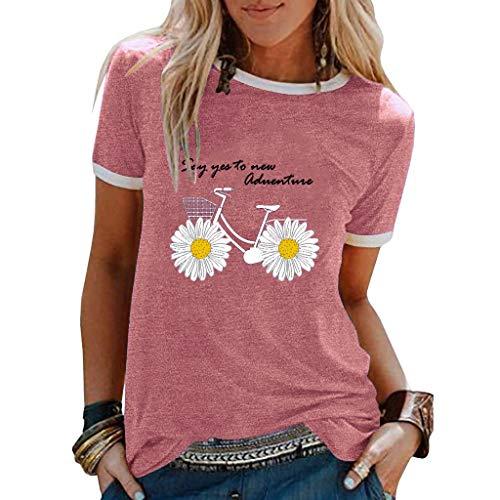 ELECTRI T-Shirts Chic Femmes Ete Top Manches Courtes Imprimé Bohême Blouse Col Rond Col V Grande Taille Tops de Plage Casual Loose Tee Shirt Sexy Coton et Lin