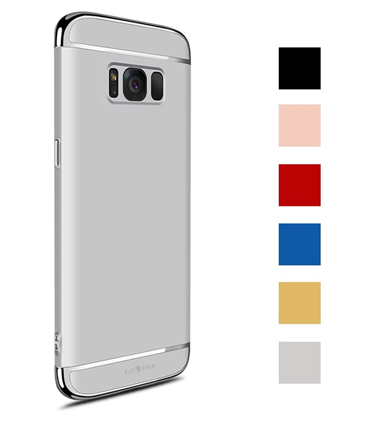 Galaxy S8 Plus Case, Thin and Slim Hard 3 in 1 Stylish Cover Matte Surface with Electroplate Frame Back Cover for Samsung Galaxy S8 Plus (6.2'')(2017) - Silver