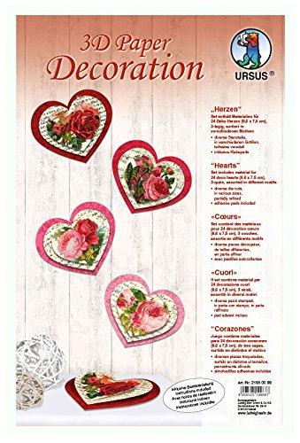 Ursus 21850099 - Bastelpackung 3D Paper Decoration Herzen, bunt