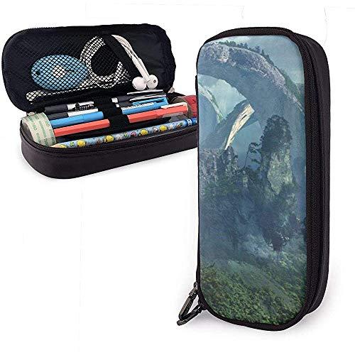 Schöne berglandschaft niedlich stift federmäppchen leder große kapazität doppelreißverschlüsse bleistift tasche stifthalter box 20cm * 9cm * 4cm