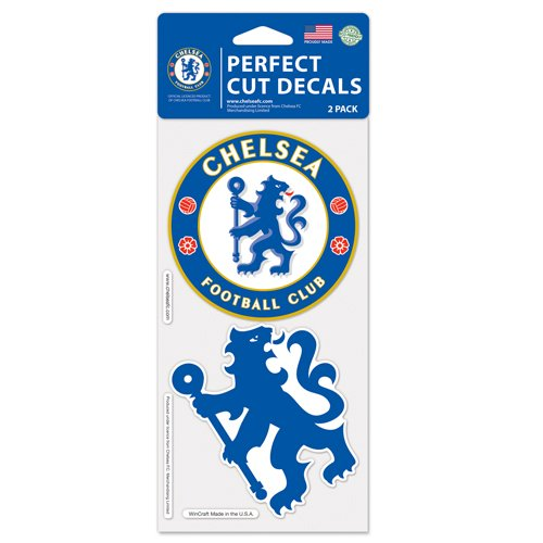 "WinCraft Soccer Chelsea FC Perfect Cut Decal (Set of 2), 4"" x 4"""