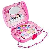 Ruby569y Juego de maquillaje de simulación, juego de niñas simulación, juego de juguetes para niñas, juego de simulación de ojos, bolsa de maquillaje, color rosa