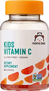 Amazon Brand - Mama Bear Vegan Kids Vitamin C, 60 Gummies, Immune Health, 125 mg Vitamin C per gummy