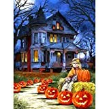 SKRYUIE 5D Full Drill Diamond Painting Halloween Haunted House Jack-o-Lantern Road by Number Kits, Paint with Diamonds Arts Embroidery DIY Craft Set Arts Decorations (12x16 inch)
