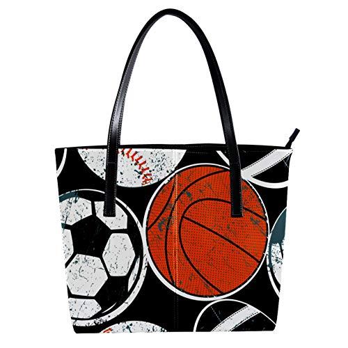 LORVIES Ball Baloncesto de béisbol de fútbol Bolso bandolera de piel sintética y bolsos de mano para mujer