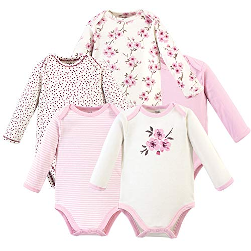 Touched by Nature Baby Organic Cotton Long-Sleeve Bodysuits, Cherry Blossom, 0-3 Months