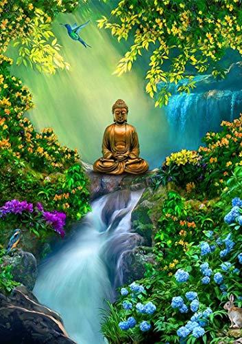 Reofrey Diamond Painting Zubehör DIY Diamantmalerei Wasserfall Buddha-Statue Bohren Voll Stickerei Strass Diamant Malerei Set Wanddekoration 40x50 cm