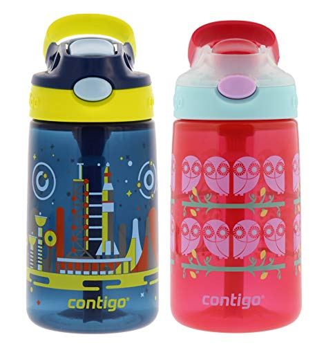 Contigo Gizmo Flip Kids Water Bottles, 14oz, 2pk- Nautical In Space and Ruby Owls - BPA-free Kids Water Bottle with Spill-Proof Valve, Flexible Carry Handle, and Easy Push Button