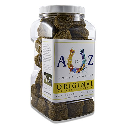 Horse Cookie Treat: Original Flavor by A - Z Horse Cookies, Low Carb Low Sugar Softer Treats, Organic, Great for All Horses and Excellent for Those with Metabolic Conditions, 4.5 lbs Jar