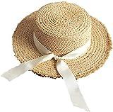 J & J Sombrero de Sol áspero Rebabas Transpirable Flat Top Rafia del Sombrero de Paja Mujer Shade Protector Solar Plegable de Playa del Verano Topper 2020