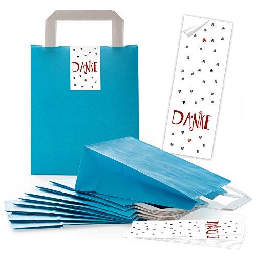 5 blaue Papiertüten Papier-Tragetaschen Geschenktüten Boden 18 x 8 x 22 cm kleine Papiertaschen + 5 lange Aufkleber DANKE rot weiß grau HERZEN Verpackung give-away
