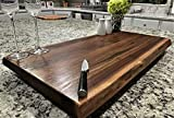 Black Walnut Large, Gorgeous, Full-of-Character, Forest-to-Table Solid Double Live Edge Wood Charcuterie / Appetizer / Dessert / Grazing / Serving Board. 100% USA Handcrafted. 27 x 14 x 1.25'