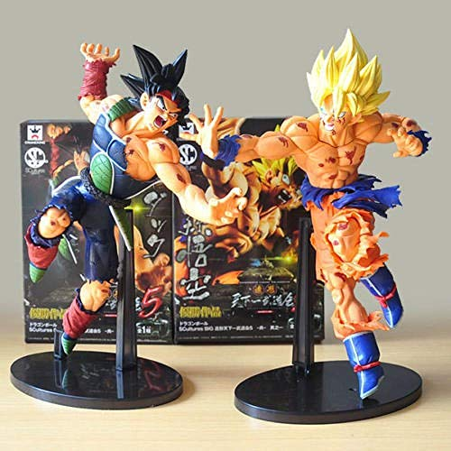 CXNY Banpresto Dragon Ball The Super Warriors Special Figure-Super Saiyan Son Gokou Bardock Battle Damage Figure Set 2pc
