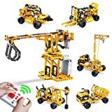 6 in 1 RC Construction Crane Toy STEM Building Blocks - 700+ PCS Remote Control Truck Excavator Sets for Boys Age 6-12 - Perfect Educational Toy Gift for Kids