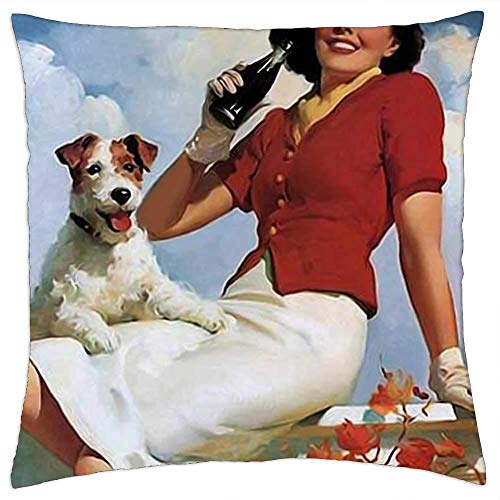 Pillow Covers,Vintage Poster Soda Woman And Dog Retro Poster Cola Pillow Cover,Charming Pillowcases For Home Office Rest,45x45cm
