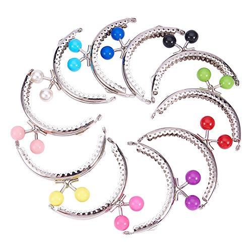 PandaHall 10 cierres de hierro para monedero de mujer DIYKiss Clasp Locks con perlas acrílicas redondasplatinocolor mixto68 x 85 ~ 87 x 11 mmorificio:1,5 mm10 unidades / juego. Platino 68x85 ~ 87x11mm