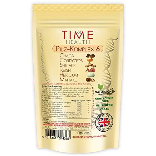 Pilz-komplex 6 – MAXIMALE STÄRKE 12000 mg pro Kapsel – Chaga, Cordyceps, Shiitake, Reishi, Löwenmähne, Maitake – Im UK hergestellt (120 Kapseln pro Beutel)