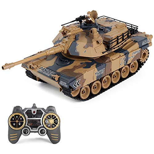DSXX 2.4GHz RC Panzer Ferngesteuert M1A2 Abrams Kampfpanzer, 1: 8 Panzer Militär Spielzeug mit Mit Rauch-, Ton- und Lichteffekten
