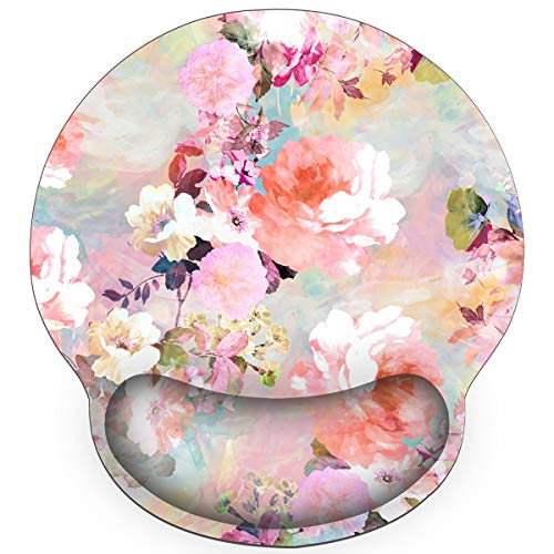 Britimes Ergonomic Mouse Pad with Wrist Support Pink Flowers Peonies Floral Non-Slip Rubber Base Mousepad for Home Office Gaming Working Computers Laptop Easy Typing & Pain Relief