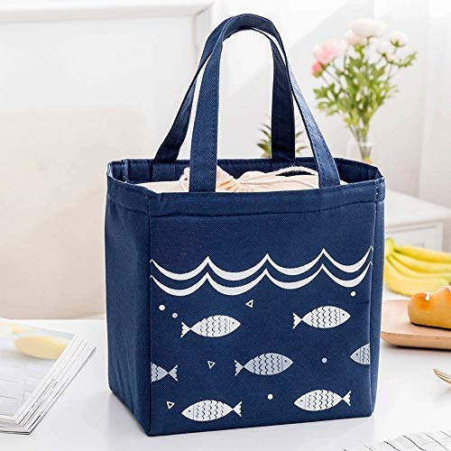 HUATAN Lunch Bag Insulated Printed Picknick Tragetasche isoliert transportable Bento Tasche Bento Box Food Storage Bag (Color : Dark Blue Drawstring)
