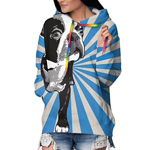 Damen Langärmeliges Kapuzen-Sweatshirt, Slim Fit Outwear Tunika Tops Gr. L, Boston Black Terriers Krawattenfarbe blau weiß gestreift