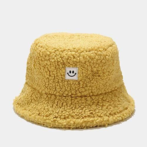 Moda Hombres Mujeres cálido Sombrero de Cubo Nueva Cara de Sonrisa Vintage Otoño Invierno Sombrero al Aire Libre Gorra señoras de Lana Suave Sombreros de Pescadores 6 Colores-Yellow