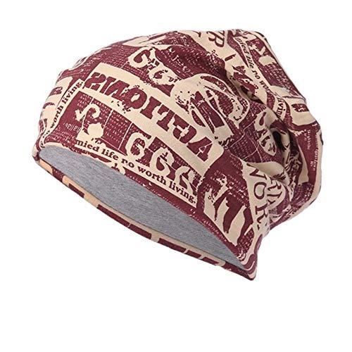 SXCYU Sombrero de algodón de Invierno Mujer Hombre Letras Gorras Mantienen Calientes Sombreros Holgados Gorrita Tejida Crochet Knit Ski Beanie Skull Slouchy Caps, Vino