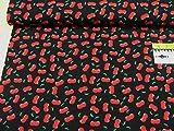 mollipolli-Stoffe Jersey Kirschen auf schwarz Baumwoll