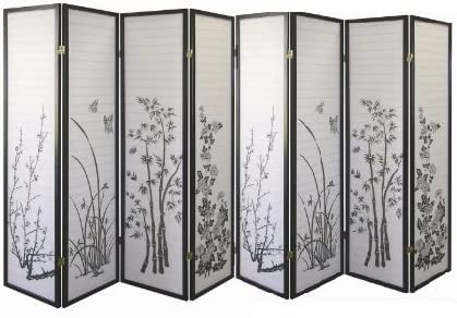 8 Panel Outlet ☆ Free wholesale Shipping Bamboo Floral Room Divider - Black FURNITURE SQUARE by