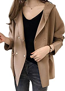 [セカンドルーツ] トレンチコート ショート フード付き 長袖 ジャケット 羽織り レディース 0A-R07 M~3XL