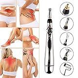 Coriver Bolígrafo de acupuntura 5 en 1, bolígrafo de masaje meridiano electrónico,bolígrafo energético, masajeador de curación corporal, instrumento de terapia,alivio del dolor y 5 cabezales de masaje