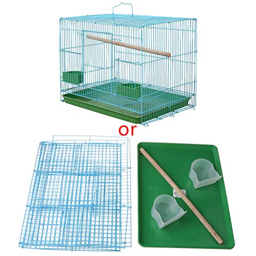 COMEYER Wire Rectangular Small Cage for Small Birds and Canaries Rekord Equipped with Bird Standing Stick and 2 Semicircular Feeders Accessories